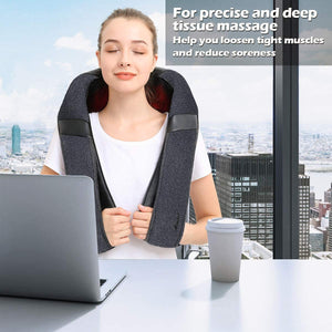 Back Massager, Shiatsu Back Neck Massager with Heat, Electric Shoulder Massager, Kneading Massage Pillow for Neck, Back, Shoulder, Foot, Leg, Muscle Pain Relief, Home,Office,Car Use - Christmas Gifts
