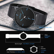 Load image into Gallery viewer, CIVO Mens Black Ultra Thin Watch Minimalist Fashion Wrist Watches for Men Business Dress Waterproof Casual Watch for Man with Stainless Steel Mesh Band
