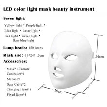 Load image into Gallery viewer, Photon Therapy Mask Rejuvenation Wrinkle Acne Removal Face Beauty Spa Skin Care Led Facial Mask 7 colors LED