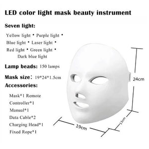 Photon Therapy Mask Rejuvenation Wrinkle Acne Removal Face Beauty Spa Skin Care Led Facial Mask 7 colors LED