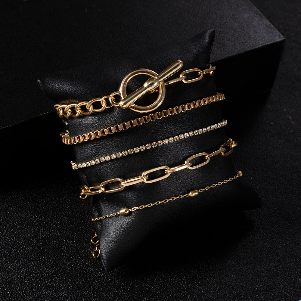 5PCs Easy Hook Fashion Crystal Bracelets for Women Gold Wrist Chain Bracelets Set Female Boho Statement Bracelet Jewelry by Tiftih