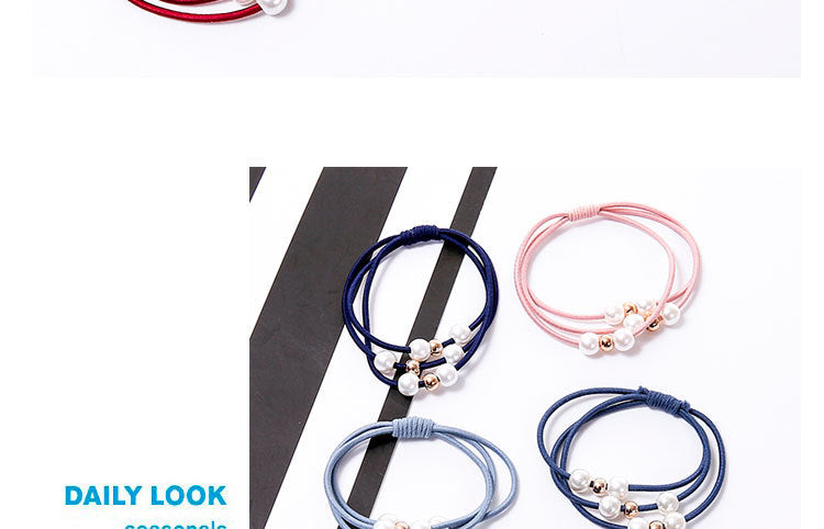 Fashion Pearl Elastic Hair Bands Multilayer Hair Ring Ponytail Holder Headband Rubber Band for Women Girls Hair Accessories by Wingiver