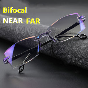 Bifocal Far Near Anti Blue Light Reading Eyeglasses Magnification Eyewear Presbyopic Glasses Diopter Dimond Cutting+1.0 To +4.0