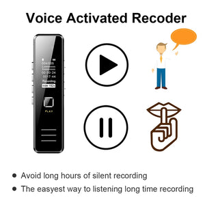 Mini Digital Voice Recorder 192Kbps 20-Hour Recording Mp3 Playing Mini Voice Recorder No Memory Max Support 32Gb Tf Card