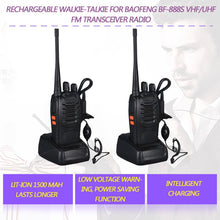 Load image into Gallery viewer, 2PCS 400-470 MHz 2-Way Radio twee 16CH Walkie Talkie with Mic FM Transceiver DC Power
