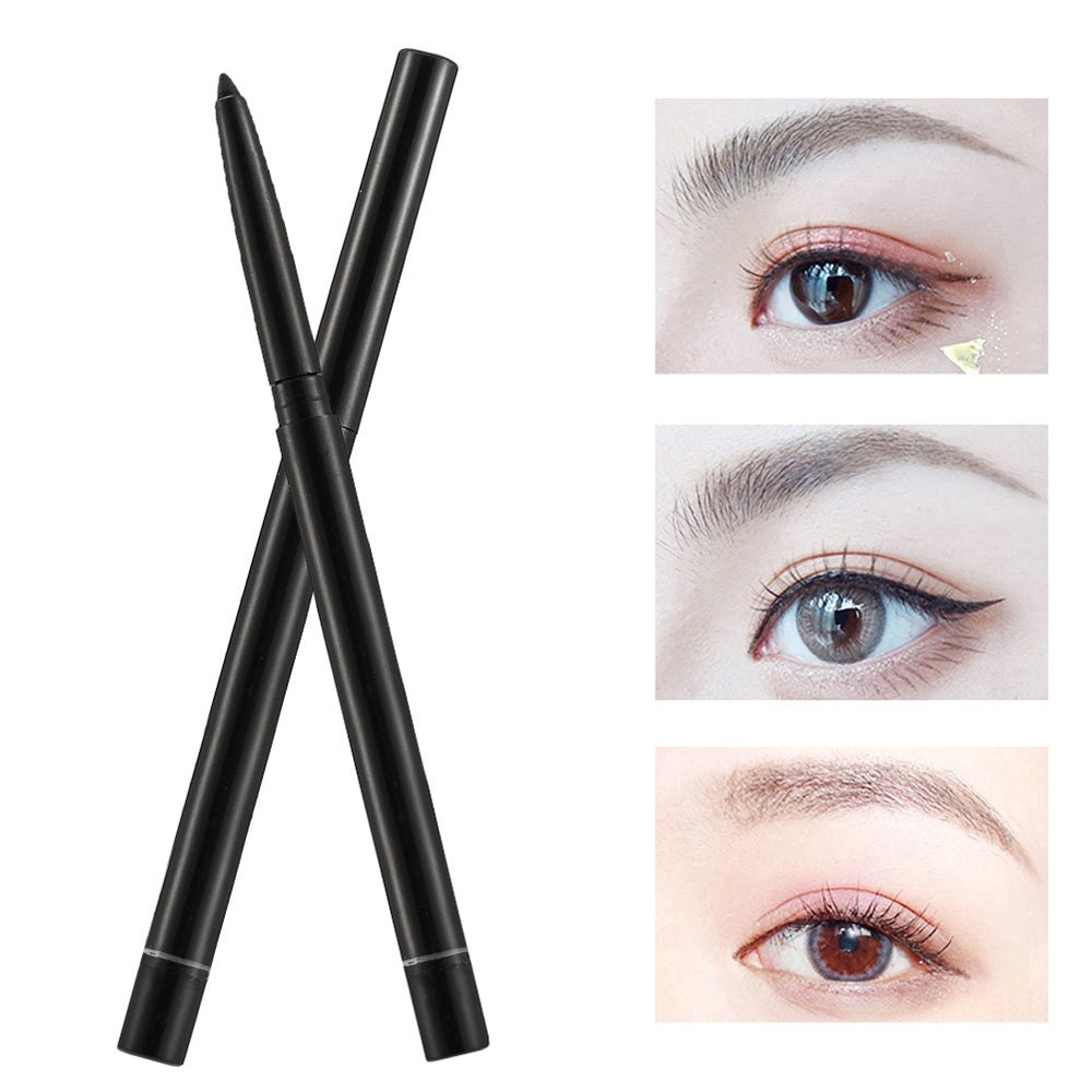 1Pcs Double-use Natural Eyebrow Pencil Eye Liner Waterproof Sweat-proof Black Automatically Rotates Makeup Pen  by Allumyth