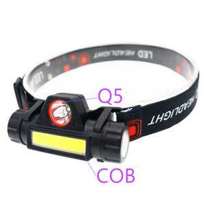 Portable Mini flashlight lantern Q5+COB led Headlamp + 1 * Built-in 18650 Battery Outdoor camping headlight