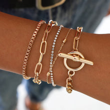 Load image into Gallery viewer, 5PCs Easy Hook Fashion Crystal Bracelets for Women Gold Wrist Chain Bracelets Set Female Boho Statement Bracelet Jewelry by Tiftih