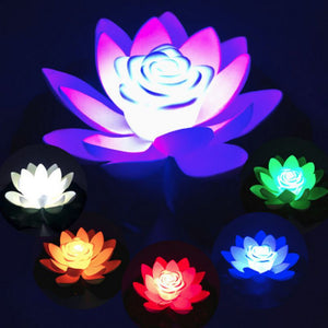 Artificial Light LED Colorful Lotus waterproof fake pond flowers Lotus Leaf Lily Water Lantern Festival Decoration Light Hot