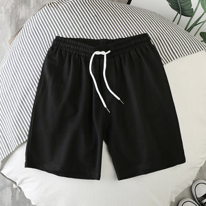 Men Shorts Hot Summer Cotton male Shorts Fashion Solid Color Elastic Waist Sandy beach Shorts Leisure Bodybuilding workout Loose Shorts Mens