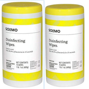 Disinfecting Wipes, Lemon Scent & Fresh Scent, Sanitizes/Cleans/Disinfects/Deodorizes, 75 Wipes Each Can