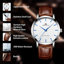 Load image into Gallery viewer, men watches with brown leather strap&white dail