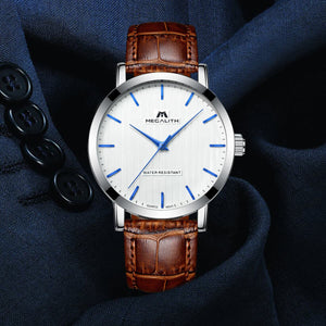 men watches with brown leather strap&white dail