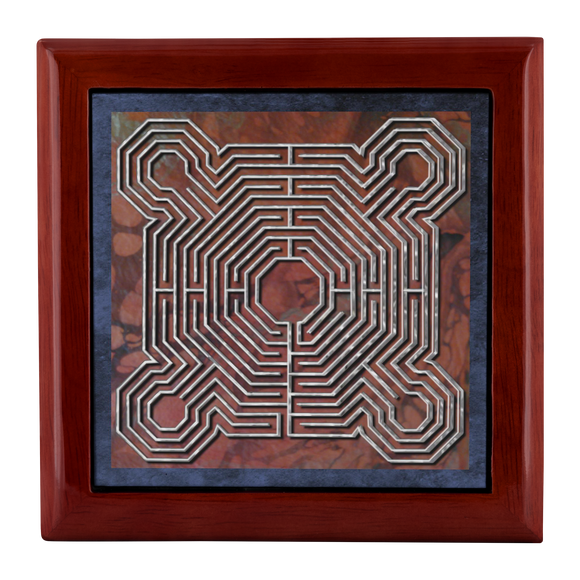 Reims Cathedral Labyrinth Jewelry Box in Red Mahogany, Golden Oak, or Ebony Black
