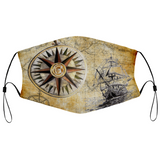 Compass Rose and Tall Ship Face Mask
