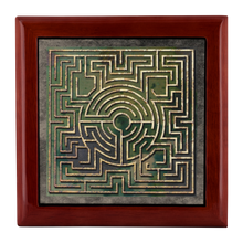 Load image into Gallery viewer, Boeckler Garden Labyrinth Jewelry Box in Red Mahogany, Golden Oak, or Ebony Black