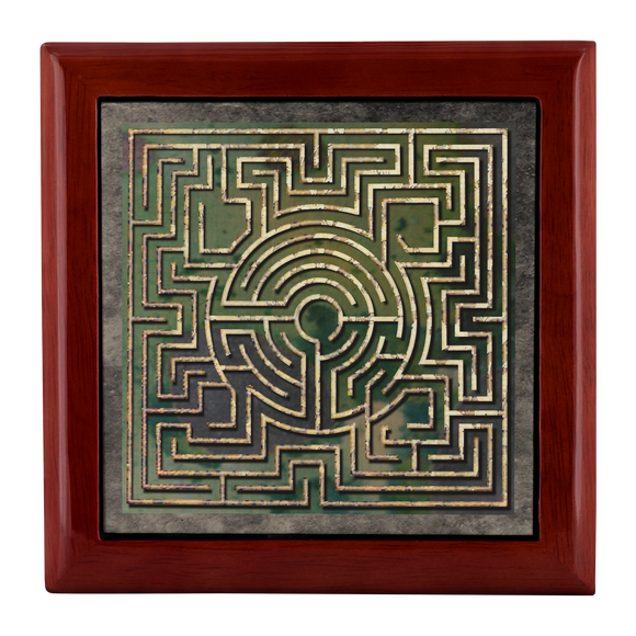 Boeckler Garden Labyrinth Jewelry Box in Red Mahogany, Golden Oak, or Ebony Black
