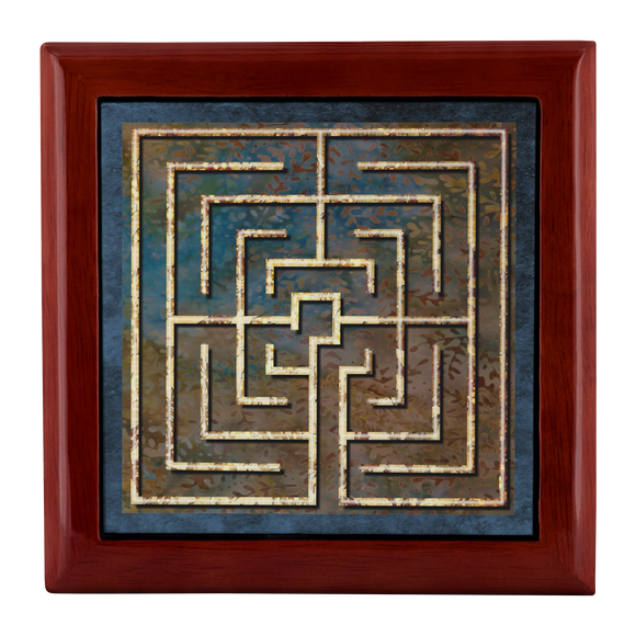 Conimbriga Labyrinth Jewelry Box in Red Mahogany, Golden Oak, or Ebony Black