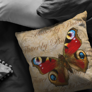 Red Butterfly Nature Digital Collage Throw Pillow