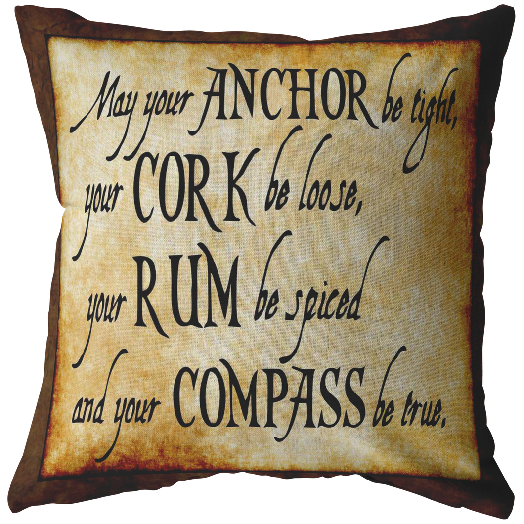 May Your Anchor Be Tight Nautical Pirate Throw Pillow