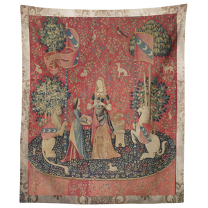 unicorn, tapestry, medieval, middle ages, renaissance, cluny museum, lion, noble lady, maid, mille fleurs, thousand flowers, flanders