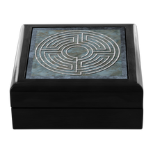 Load image into Gallery viewer, House Of Theseus Labyrinth Jewelry Box in Red Mahogany, Golden Oak, or Ebony Black