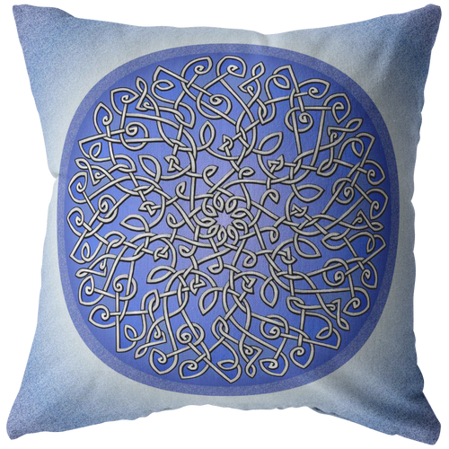 Celtic Art Burst in Ice Blue Throw Pillow