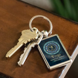 Blue Zodiac Virgo Astrology Keychain