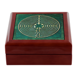 Chartres Cathedral Labyrinth Jewelry Box in Red Mahogany, Golden Oak, or Ebony Black