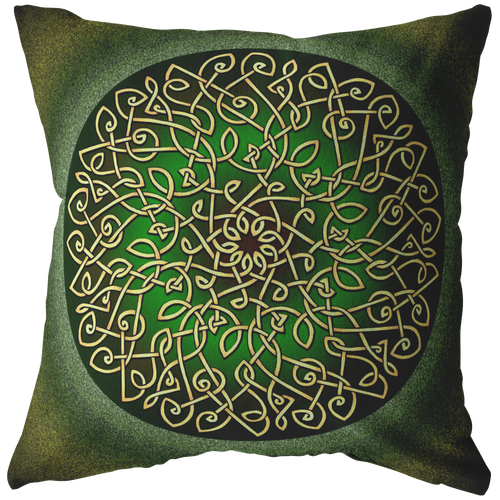 Celtic Art Burst in Sage Green Throw Pillow