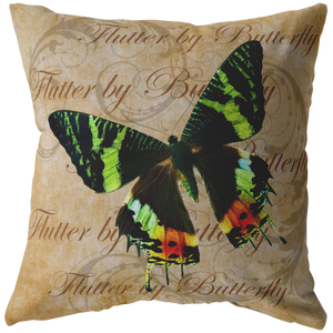 Green and Orange Butterfly Nature Digital Collage Throw Pillow