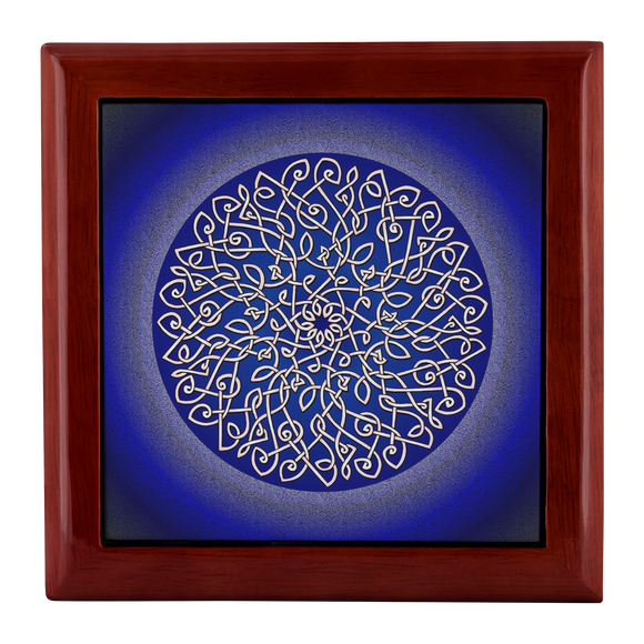Celtic Art Burst in Dark Blue Jewelry Box - Red Mahogany, Golden Oak, or Ebony Black