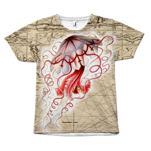 Vintage Red Jellyfish Front-Print Tee
