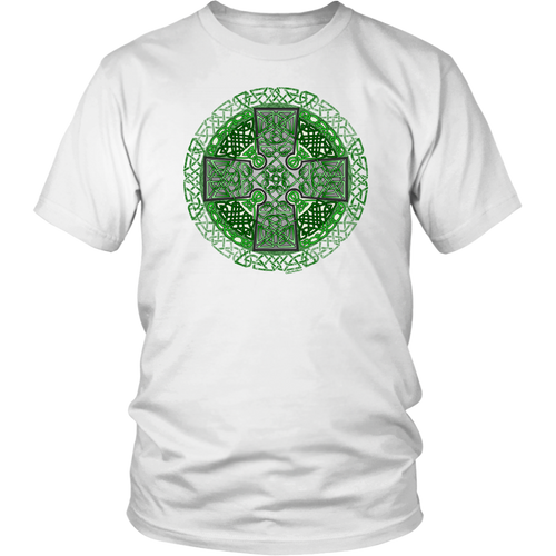 Celtic Art Cross in Green - Single-line Celtic Knot Unisex T-shirt