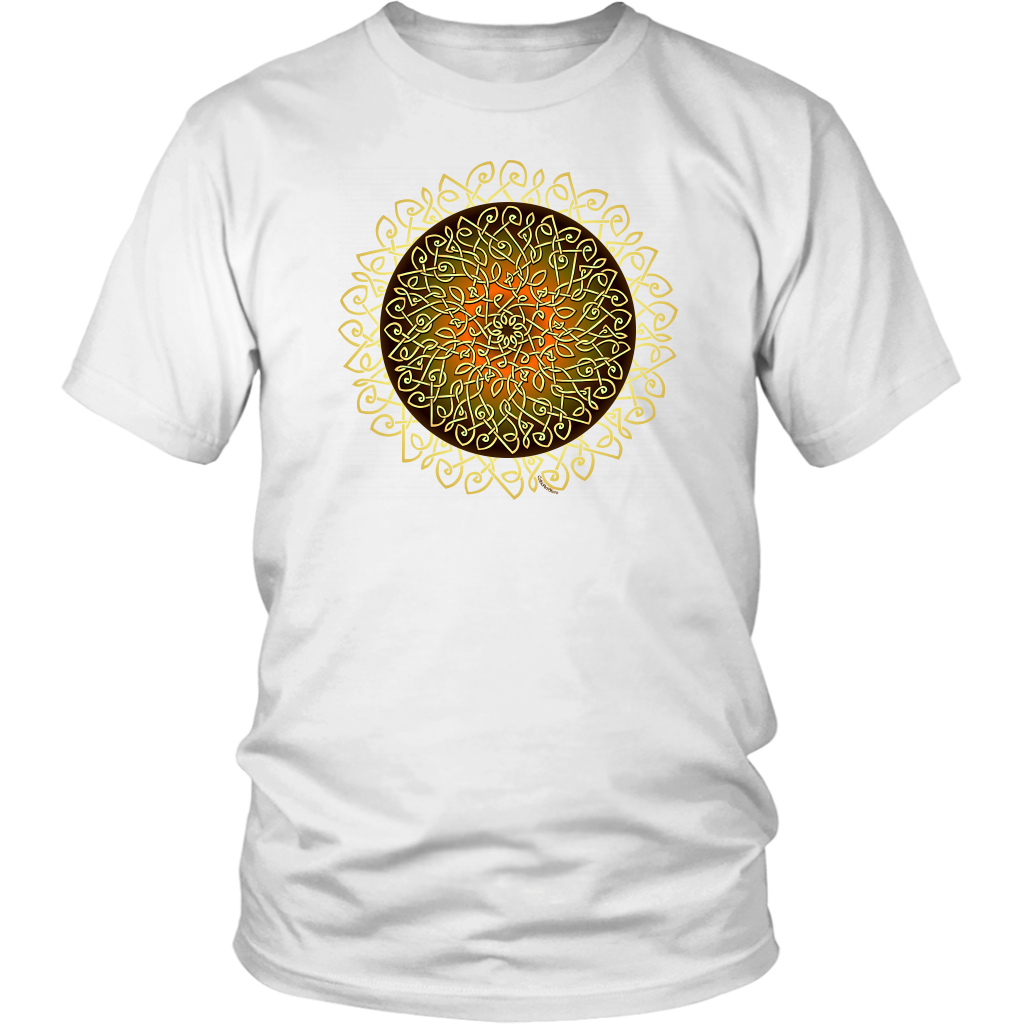 Celtic Art Burst in Autumn - Single-line Celtic Knot Unisex T-shirt