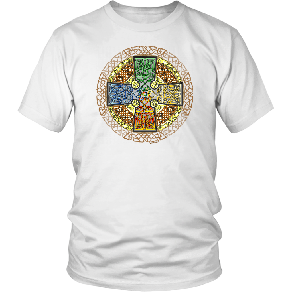 Celtic Art Cross in Elemental - Single-line Celtic Knot Unisex T-shirt