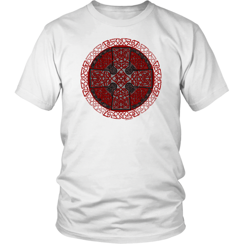Celtic Art Cross in Red and Black - Single-line Celtic Knot Unisex T-shirt