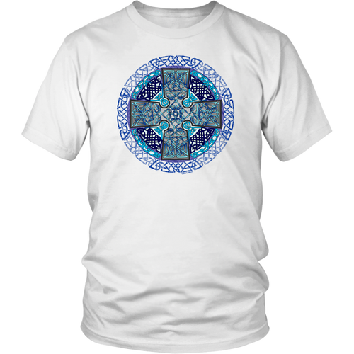 Celtic Art Cross in Blue - Single-line Celtic Knot Unisex T-shirt