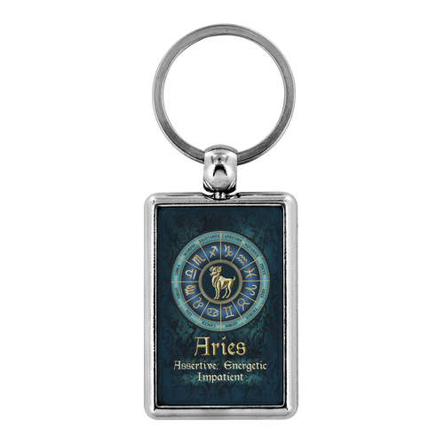 Blue Zodiac Aries Astrology Keychain
