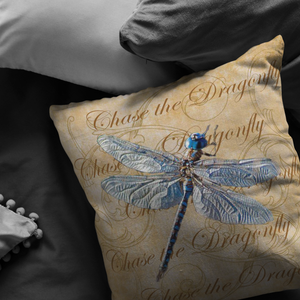 Blue Dragonfly Nature Digital Collage Throw Pillow