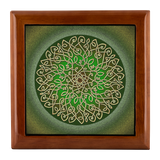 Celtic Art Burst in Sage Green Jewelry Box - Red Mahogany, Golden Oak, or Ebony Black