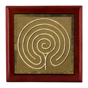 Chakra Vyuha Labyrinth Jewelry Box in Red Mahogany, Golden Oak, or Ebony Black