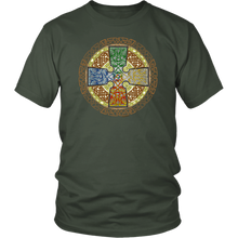 Load image into Gallery viewer, Celtic Art Cross in Elemental - Single-line Celtic Knot Unisex T-shirt