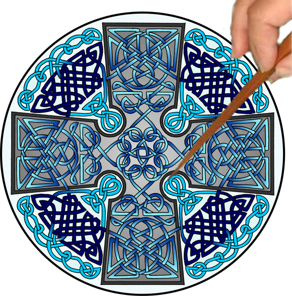 Celtic Cross Mandalynth - Blue - Mindful Tracing Art for Stress, Anxiety and Attention Management