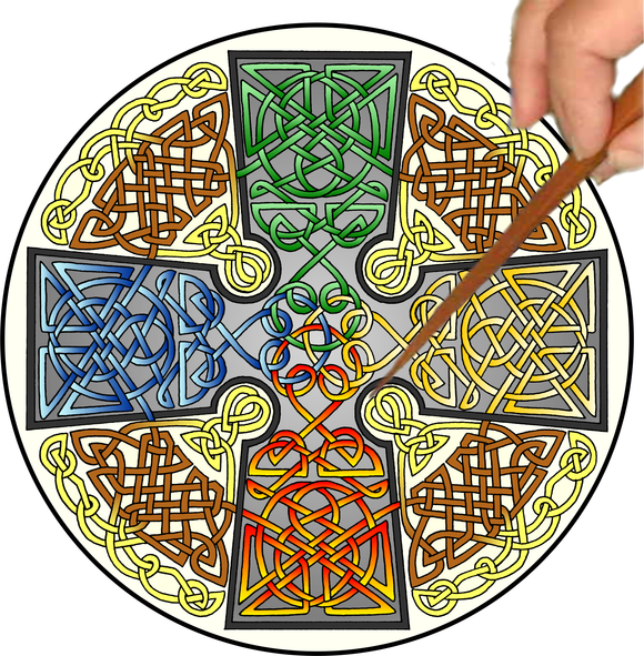Celtic Cross Mandalynth - Elemental - Mindful Tracing Art for Stress, Anxiety and Attention Management