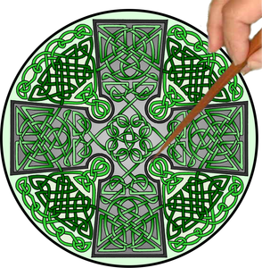 Celtic Cross Mandalynth - Green - Mindful Tracing Art for Stress, Anxiety and Attention Management