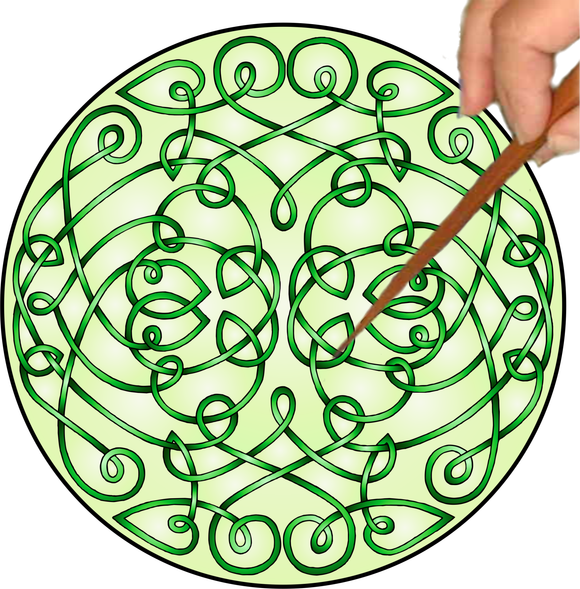 Celtic Curls Mandalynth - Green - Mindful Tracing Art for Stress, Anxiety and Attention Management