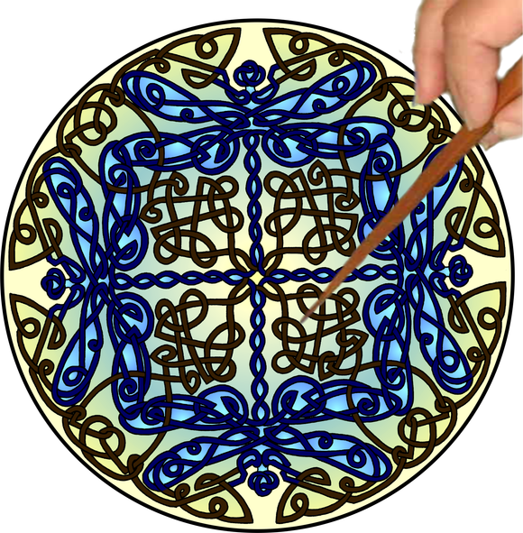 Copy of Celtic Dragonflies Mandalynth - Blue - Mindful Tracing Art for Stress, Anxiety and Attention Management