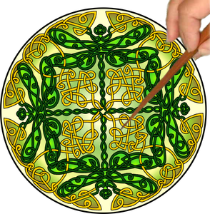 Celtic Dragonflies Mandalynth - Green - Mindful Tracing Art for Stress, Anxiety and Attention Management