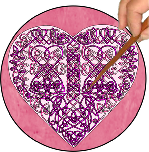 Celtic Hearts Mandalynth - Pink - Mindful Tracing Art for Stress, Anxiety and Attention Management